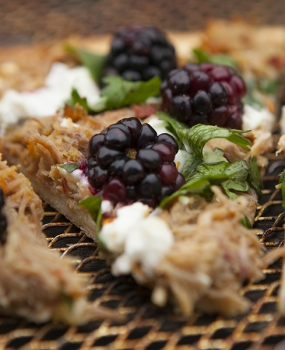 Pulled pork, blackberry, feta
