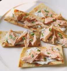 Salmon, Cream Cheese flatbread